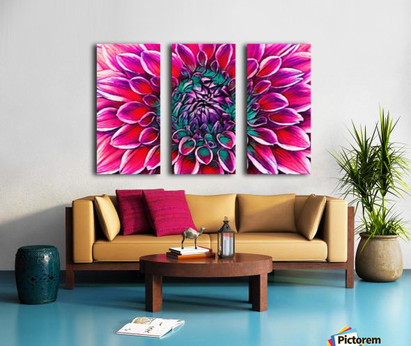 Red flower and Green Split Canvas print