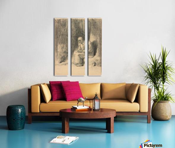 Woman seated beside a tree Split Canvas print