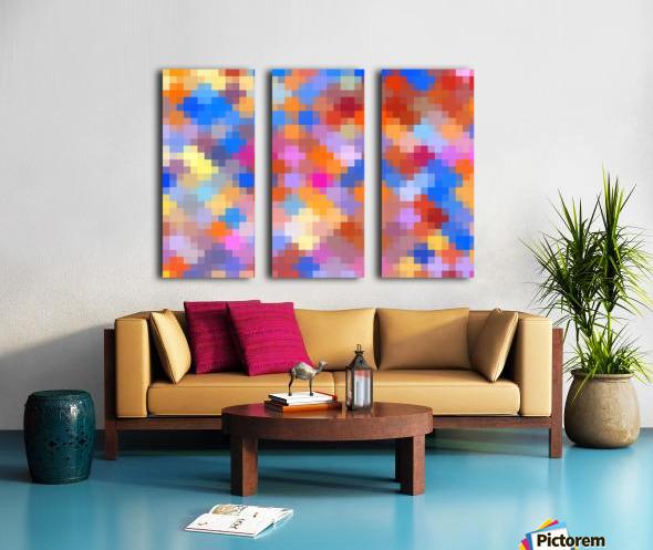 geometric square pixel pattern abstract in pink blue orange Split Canvas print