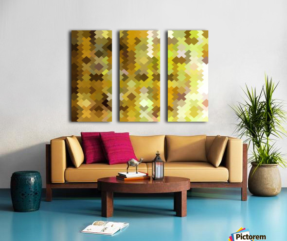 geometric square pixel pattern abstract in yellow and brown Split Canvas print