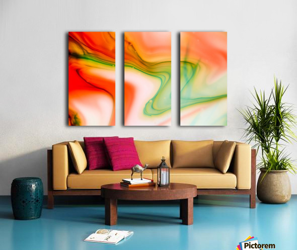 The colorful background of freeform floating watercolor Split Canvas print