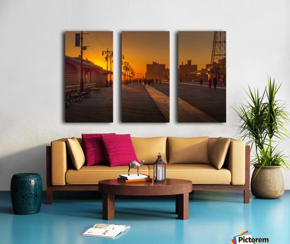 Sunset over the boardwalk Split Canvas print