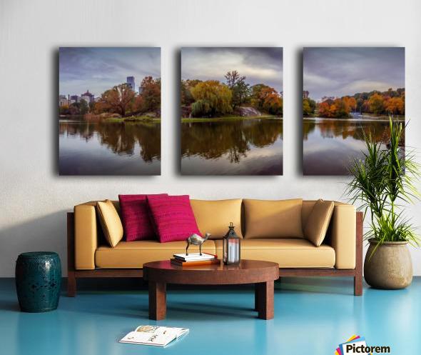 Central park lake panorama Split Canvas print