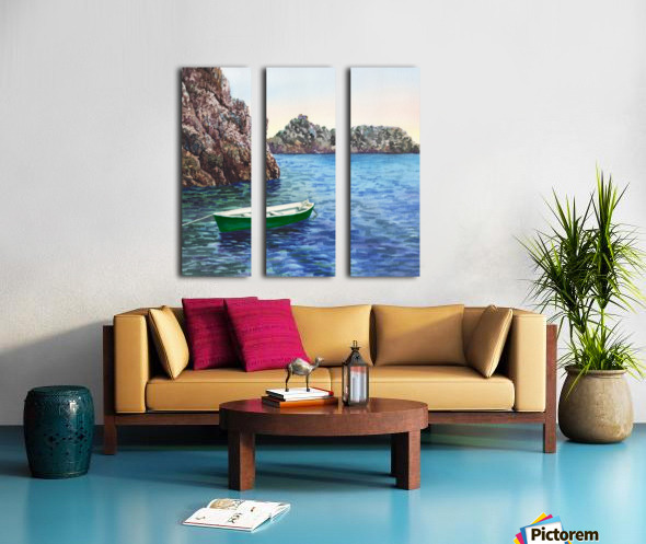 Green Boat Blue Sea Grotto Emeraldo Harbor  Split Canvas print