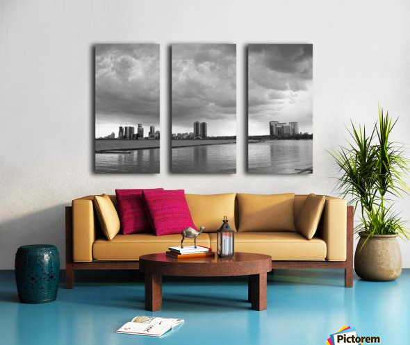 City at Ontario Lake B&W Split Canvas print