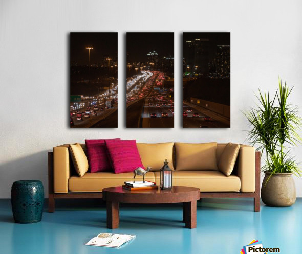 Busy road at night Split Canvas print
