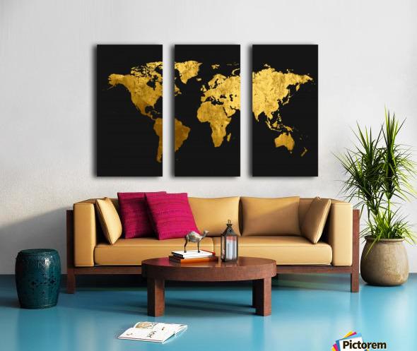Golden World Map Split Canvas print