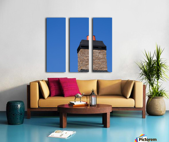 Stone Chimeny with Metal Cap Split Canvas print