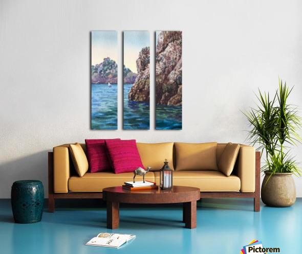 Seascape Harbor Rocky Shore Watercolor Painting Split Canvas print
