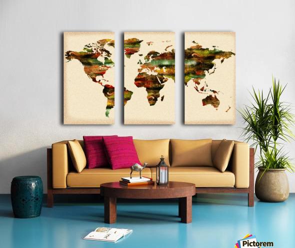 Watercolor World Map Vintage Brown Split Canvas print
