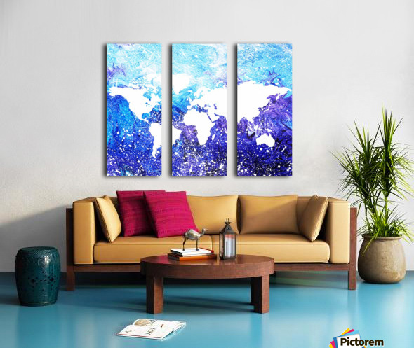 Watercolor Silhouette World Map Global Cooling  Split Canvas print