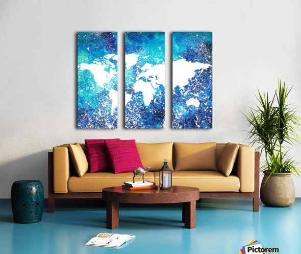 White And Teal Watercolor Silhouette World Map  Split Canvas print
