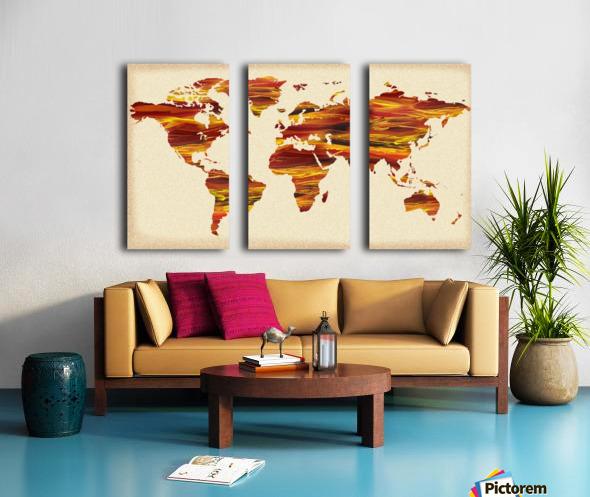 Watercolor Silhouette World Map Terra Lines Split Canvas print