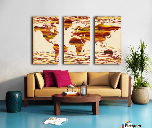 Watercolor Silhouette World Map Brown Beige Waves  Split Canvas print
