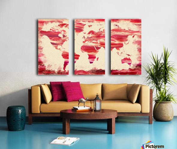 Watercolor Silhouette World Map Pink Terra Split Canvas print