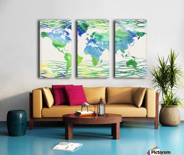 Watercolor Silhouette World Map Blue Green Wave  Split Canvas print