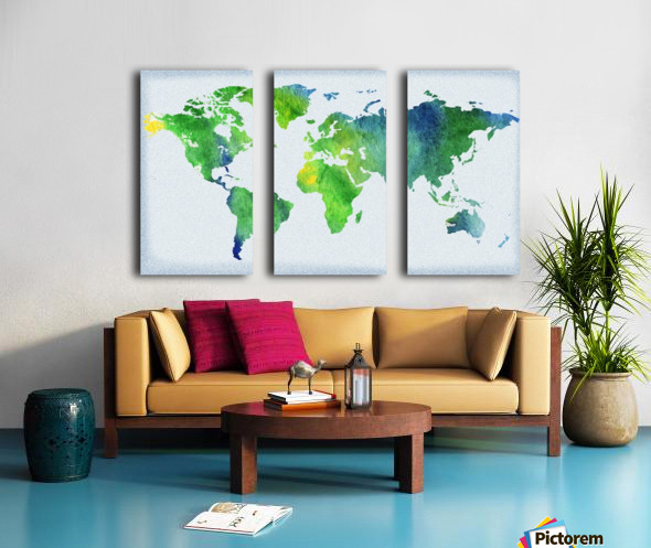 Watercolor Silhouette World Map Peaceful Green  Split Canvas print