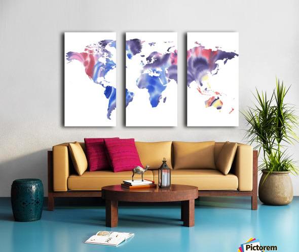 Watercolor Silhouette World Map Purple Blue Split Canvas print