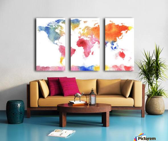 Watercolor Silhouette World Map Rainbow Sea Split Canvas print