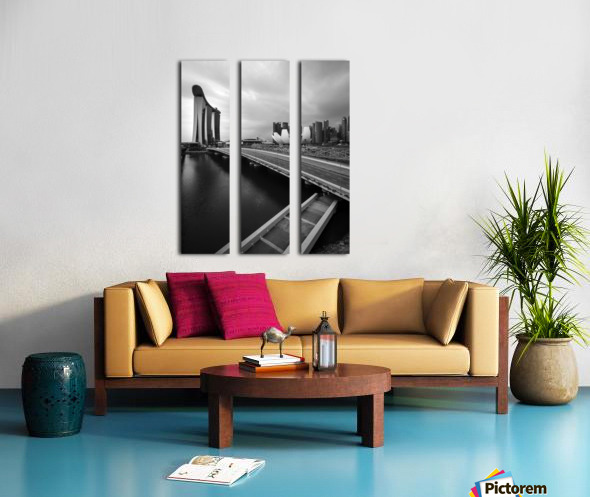 Singapores Marina Bay seen from the highway crossover Split Canvas print