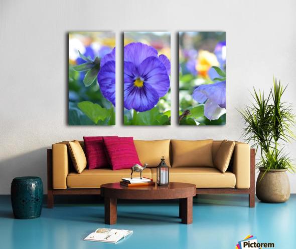 Blue Flowers Photograph Split Canvas print