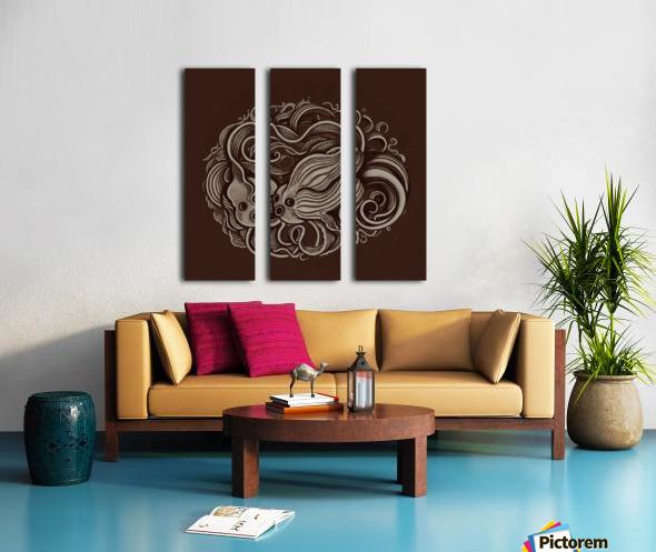 Lunar New Year Sepia Split Canvas print