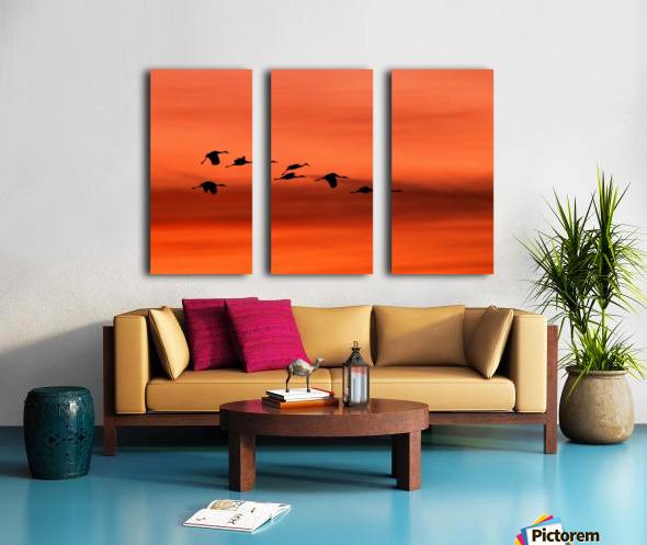 Sandhill Cranes at Sunset Split Canvas print