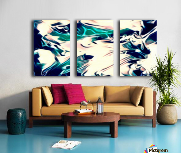 Crystal Spine - green white blue multicolor abstract swirl wall art Split Canvas print