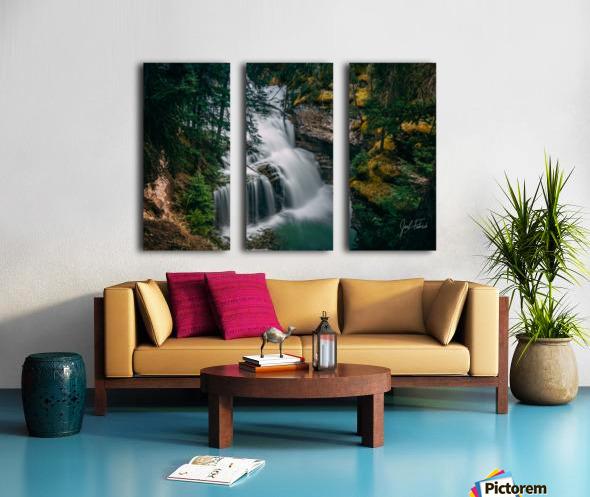 Johnson Canyon Trail Falls Long Exposure Split Canvas print