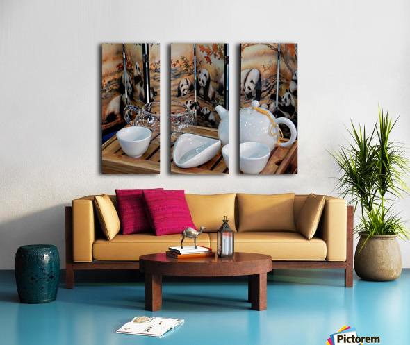 Chinese Tea Ceremony Set With Pandas Split Canvas print