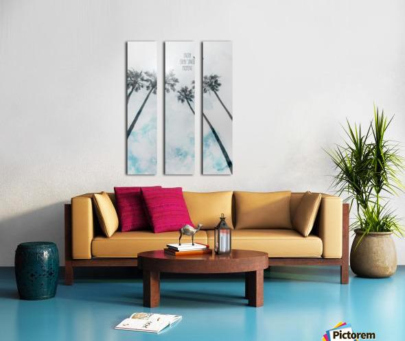 Palm trees with sun   enjoy every single moment Split Canvas print
