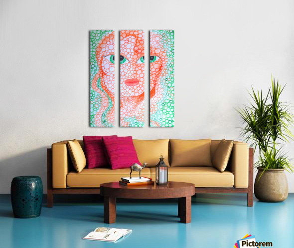 Girl and Circles Split Canvas print