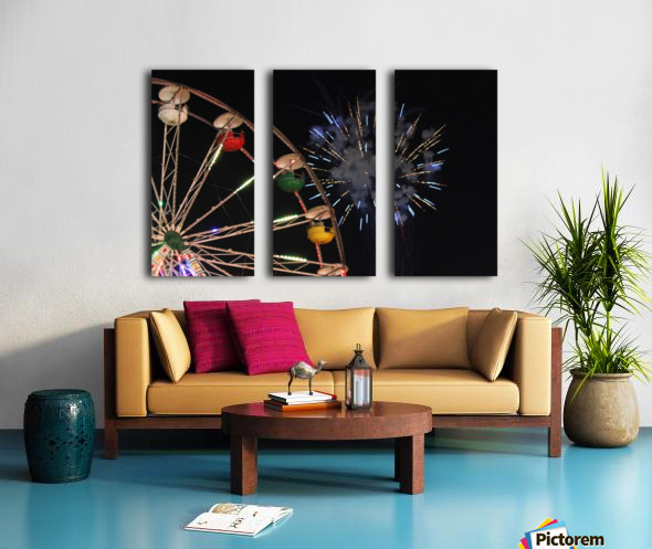 Ferris Wheel and Fireworks Split Canvas print
