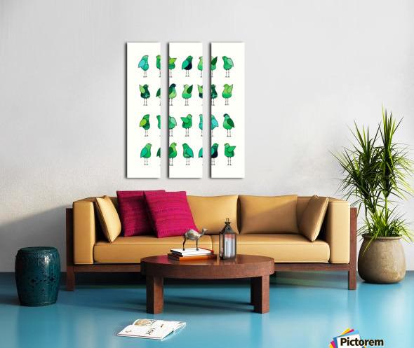 Gossip Birds Green Split Canvas print