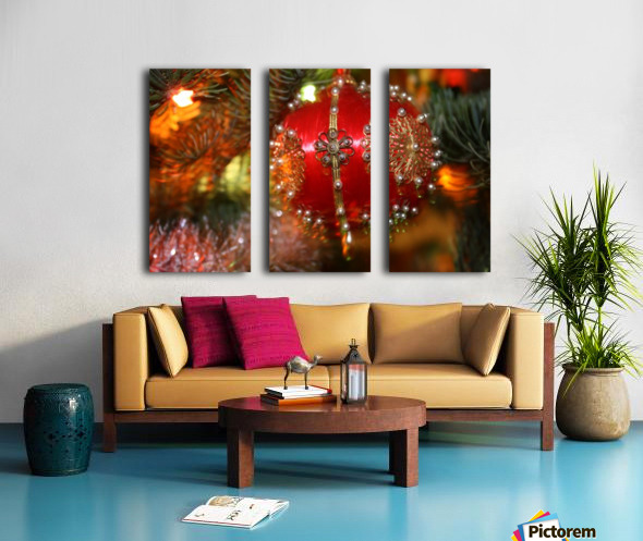 Festive Christmas holiday background with Santa Claus presents and tree. Split Canvas print