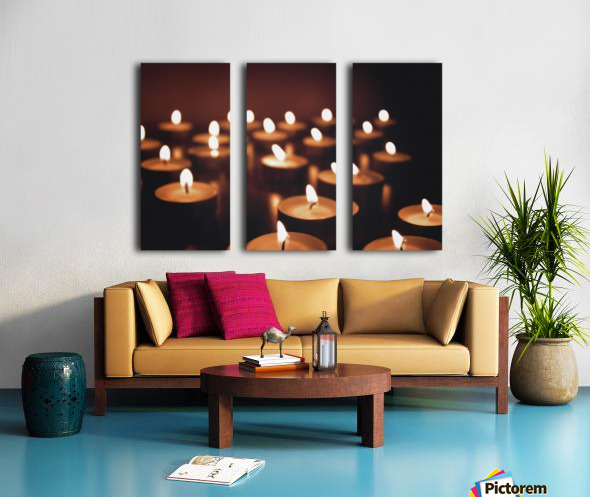 Candles on dark background Split Canvas print