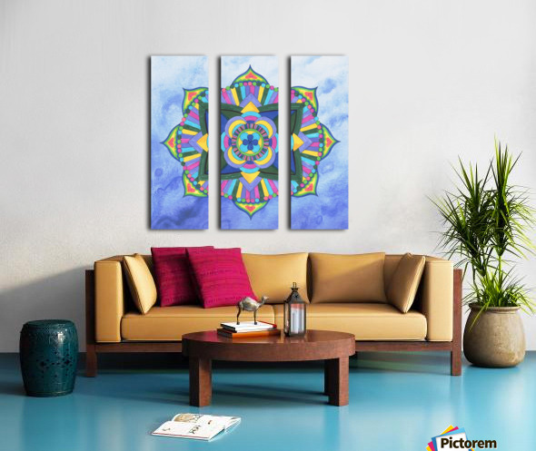 Hand Painted Mandala Watercolor Meditation on Blue Split Canvas print