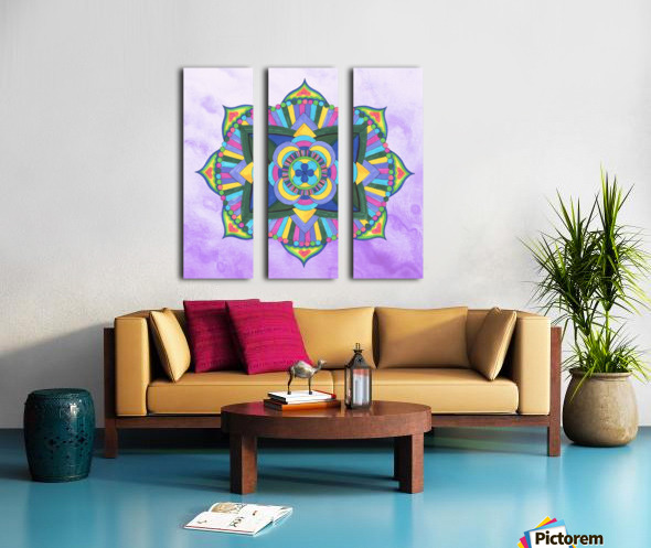 Hand Painted Mandala Watercolor Meditation on Purple Split Canvas print