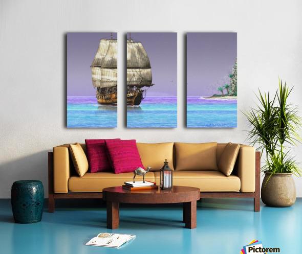 Sailship On A Tropical Island Split Canvas print