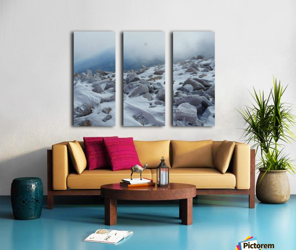 Mountainside with Snow-covered Rocks Split Canvas print