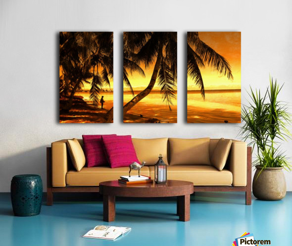 Fiery Hour Saipan Split Canvas print