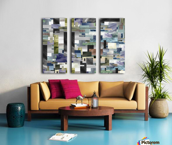 Gray Geometry Watercolor Geometrics Decorative Blocks XIV Split Canvas print