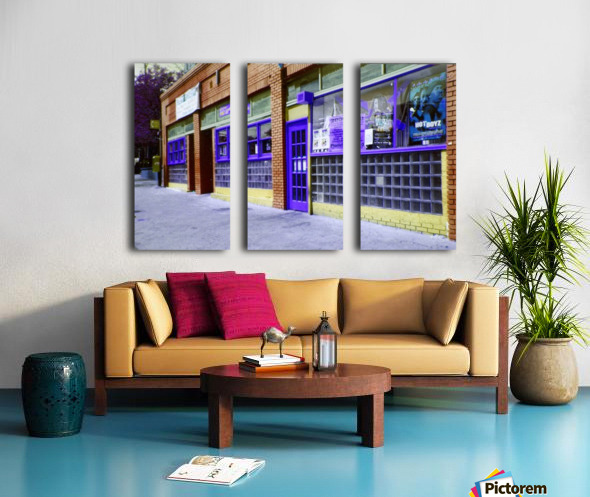 Atlanta Street Scene -- Blue & Brown Split Canvas print