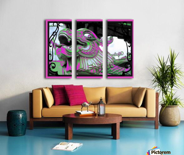 Carnival Creature in Purple & Green Split Canvas print