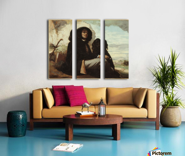 Autoportrait dit Courbet au chien noir Toile Multi-Panneaux