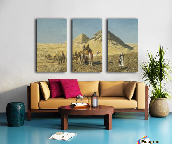 Caravan and pyramids Split Canvas print