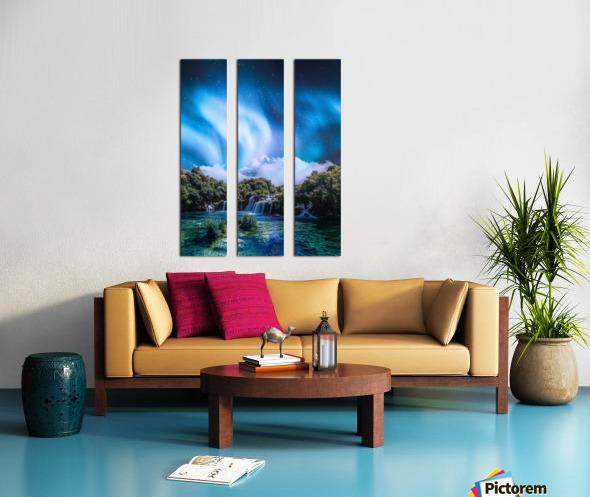 Aurora Polaris Over The Waterfall Split Canvas print