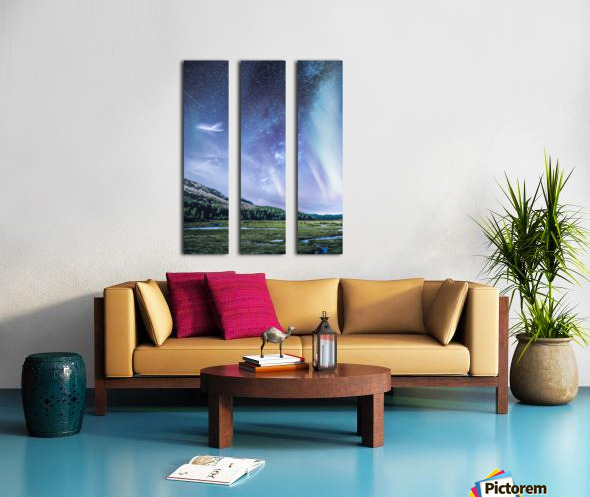 Milky Way And Aurora Polaris At Night Split Canvas print