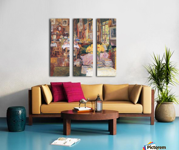 The room of flowers by Hassam Split Canvas print