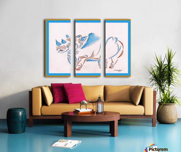 Do Rhinos Come in Blue Split Canvas print